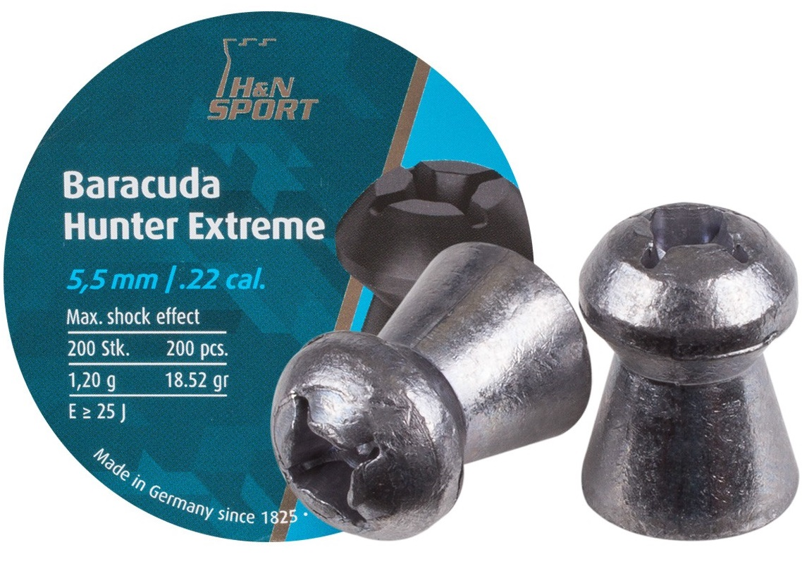 HN Baracuda Hunter Extreme Hollowpoint Airgun Pellets .22 200 ct 18.52gr