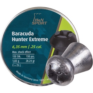 """H&N Baracuda Hunter Extreme Pellets, Hollowpoint, Qty 150, Weight 28.24 Grains, Caliber 0.25"""""""