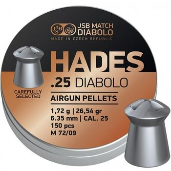 "JSB Diabolo HADES Hunting Pellets, Hollow Point, Grains 26.54, Qty 150, Caliber .25"""